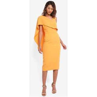 Lavish Alice Woven Asymmetric Drapes Midi Dress