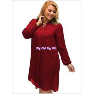 Plain Red Plus Size Longsleeve Dress
