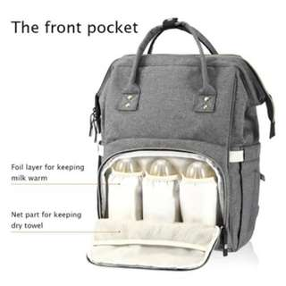 Multi-Function Baby Diaper Bag Large Capacity Water Resistance (Gray) 42.00 X 27.00 X 7.00 Cm