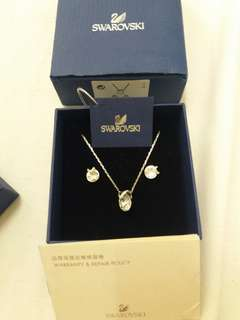 Swarovski necklace and earings slightly used with waranty card