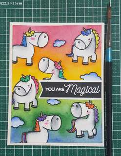 🚚 Handmade Greeting Card- Unicorn
