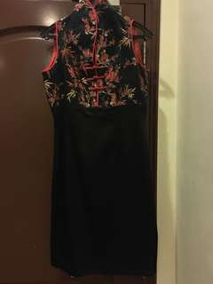 Custom made red and black short qipao