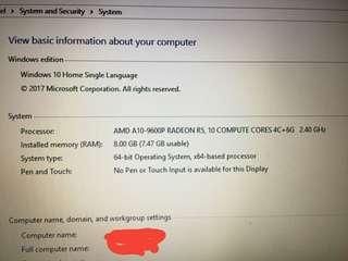 LAPTOP HP 15,6 inch Proc AMD A10-9600P 8gb 1tb