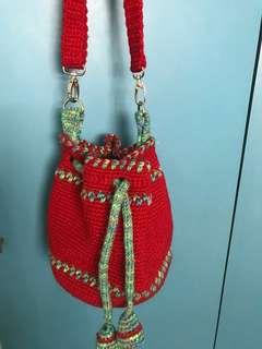 Handmade drawstring sling bag
