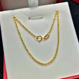 18k Yellow Gold Necklace 18K黃金黃金項鏈 (18吋45cm)