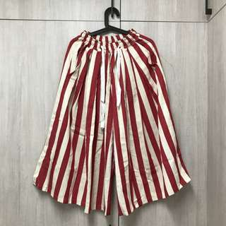 PLANET行星 自訂大阪風直條紋七分褲裙