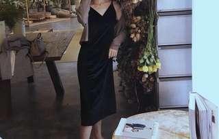 歐美天鵝絨V領黑色小禮服小洋裝
