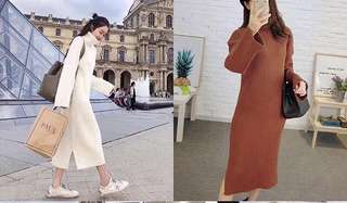 sweater dress. white only