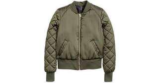 H&M satin quilted bomber jacket