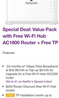 MyRepublic Special Deal: Value Pack with Free Wi-Fi Hub AC1600 Router + Free TP