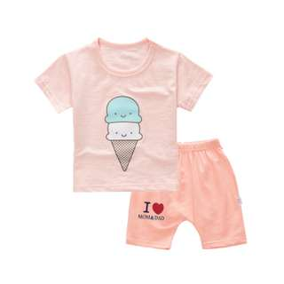 Pink Ice Cream Baby Cute Kids Shirt and Pants Set
