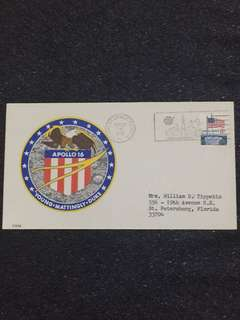 US 1972 Apollo 16 Splashdown Kennedy Space Centre Space Cover stamp
