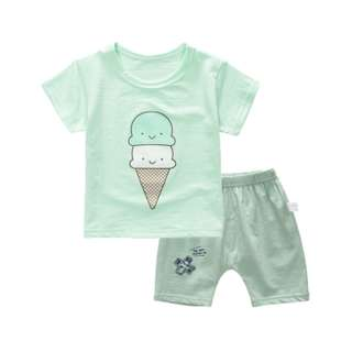 Mint Green Ice Cream Cute Baby Kids Shirt and Pants Set