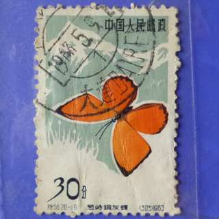 Stamp China 1963 Butterflies Chrysophamus solskyi 30 fen