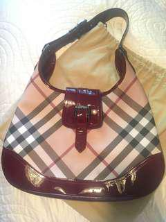 Burberry Hobo Bag/Purse Maroon Leather