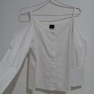 White sabrina top