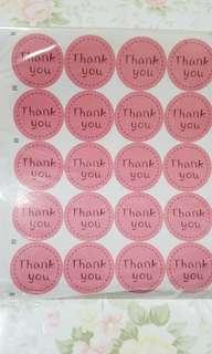 """Thank you""貼纸(共5張,每張20個)"