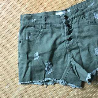 排扣牛仔墨綠高腰短褲