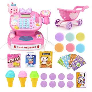Ready Stock Cash Register Realistic Plastic Pink Supermarket Cashier Educational Toy