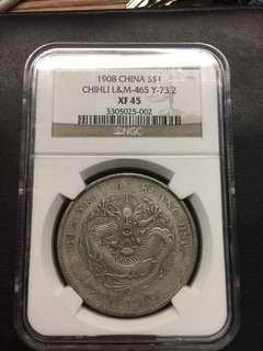 China 1908 Chihli Dragon XF dollar