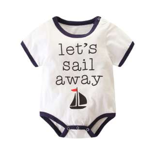Let's Sail Away Nautical Cute Baby Romper Jump Suit