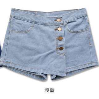 流行時尚激瘦排釦裝飾牛仔褲裙