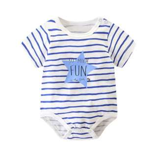 Blue Stripes Nautical Fun Time Baby Kids Romper Playsuit