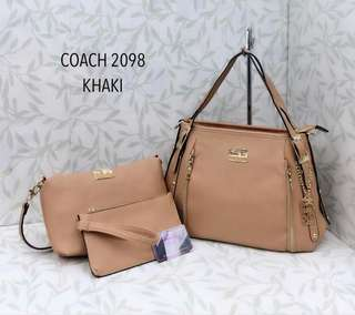 Coach Handbag 3 in 1 Khaki Color