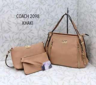 Coach Handbag 3 in 1 Khaki Color