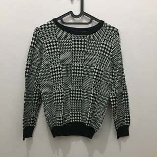 ZARA SWEATER ZALORA BLACK WHITE