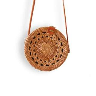 LALY Brown Double Braided Rattan Bag