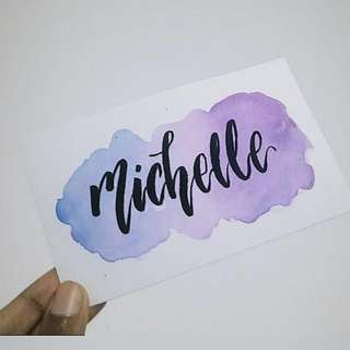 Watercoloured Calligraphy Namecards