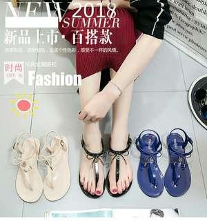 #預購 #女鞋 新款歐美風夾腳軟底時尚涼鞋 290元 顏色👉杏粉/黑/寶藍 尺碼👉36~40