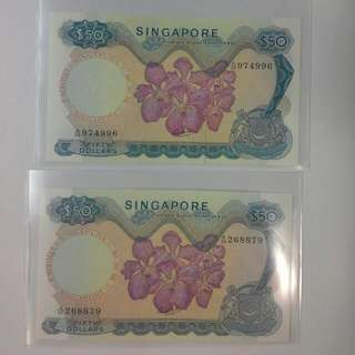 2 Singapore $50 Orchid Hss No Seal, Good Ef Condition