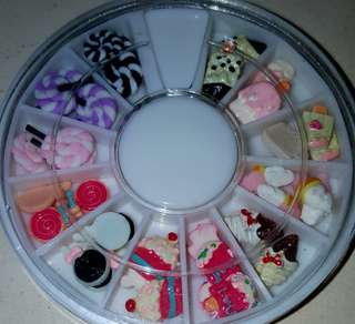 3D Cupcakes/Lollipop Nail Art Studs In Wheel
