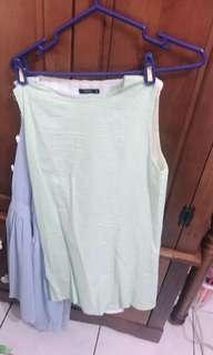 🚚 綠色直線條洋裝