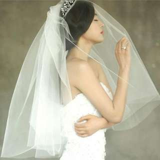🚚 Korean Style Double Tiers Bridal Veil  (with Comb)