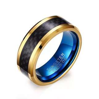 Tungsten Carbide Ring - Carbon Fiber Inlay Dual Tone Gold Blue Based Edition