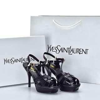 Sepatu YSL Tribute 75 High Heel Patent Hitam