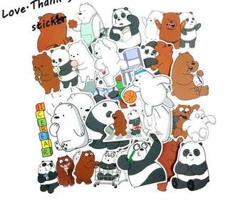 PO 36pcs we bare bear stickers