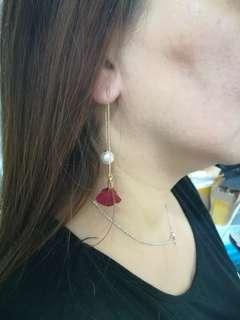 立體紅玫瑰耳環09