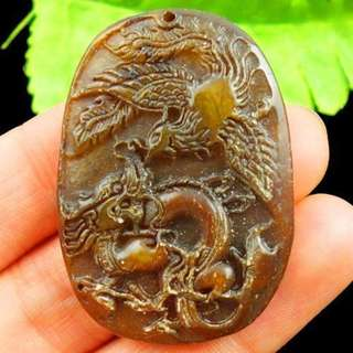 Carved Chinese Old jade Dragon Pendant Bead 46x33x7mm