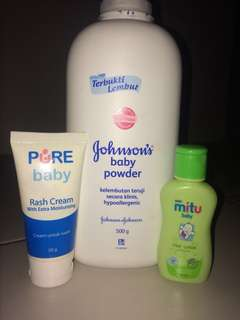 Baby powder, hair lotion, rash cream