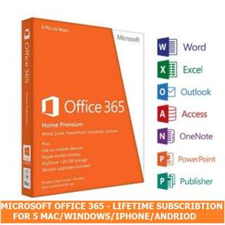 Lifetime Microsoft Office 365 + 5TB OneDrive Storage for 5 PC/Mac
