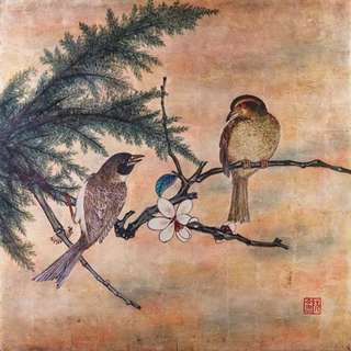 Gold Leaf 2 Birds Painting