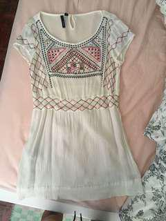 Mango White Embroidered Knee Length Dress