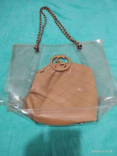 Transparent bag with pouch (Preloved)