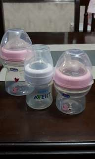 2 Chicco bottles and 1 Philips Avent bottle