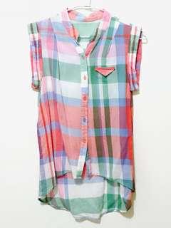 韓版 彩色格紋 襯衫 上衣