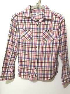 日本 UNIQLO 經典格紋 線條 襯衫(S)